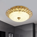 Dome Frosted Glass Flush Light Simplicity 1 Bulb Corridor Flush Mount Lamp with Crystal in Gold