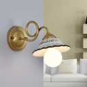 Romantic Pastoral Flared Wall Light Fixture 1 Light Ceramic Wall Sconce with Brass Twisted Arm