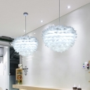 Feather Pendant Chandelier Modernism Fabric 4 Bulbs Bedroom Ceiling Hang Fixture in White/Grey/Pink
