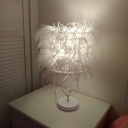 White Feather Desk Lighting Contemporary 1-Bulb Fabric Night Table Lamp with Crystal Ball Decor