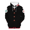Guys Designer Long Sleeve Drawstring Button 3D Anime Cosplay Pattern Contrasted Loose Fit Hoodie in Black