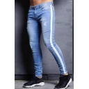 Stylish Mens Mid Rise Ripped Bleach Contrasted Stripe Ankle Length Skinny Jeans