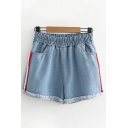 Cool Street Womens Elastic Waist Contrasted Stripe Raw Edge Relaxed Fit Denim Shorts in Light Blue