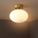 Cream Glass Oval Semi Flush Mount Lighting Minimalist 1-Light Gold Close to Ceiling Lamp