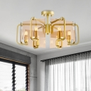 Rectangle Panel Tan Glass Semi Flush Modernist 6 Bulbs Gold Flush Mount Ceiling Light with Drum Design