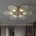 Petal Semi Flush Mount Ceiling Lamp Modernist Acrylic Brass LED Flushmount Lighting for Living Room