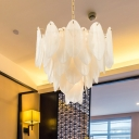White Textured Glass Leaf Chandelier Contemporary 6 Bulbs Hanging Light Kit in Gold