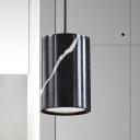 Cylindrical Hanging Ceiling Light Modern Nordic Marble 1 Light White/Black Suspension Lamp