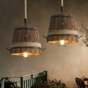 Wood Bucket Suspension Pendant Vintage 1 Light Restaurant Hanging Ceiling Light with Rope Rod and Globe Cage