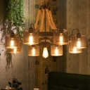 Black 9/13 Bulbs Pendant Chandelier Farmhouse Metal Cylinder Hanging Ceiling Light with Wheel and Rope Rod