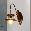 1 Light Metallic Wall Sconce Lighting Retro Brass Flared Restaurant Wall Lamp with Mermaid Arm