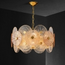 Round Panel Ceiling Chandelier Modernism Clear Ribbed Glass 8/12-Bulb Gold Hanging Light Kit with Drum Design