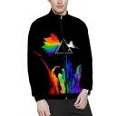 Fashionable Mens Long Sleeve Mock Neck Zipper Front Colorful Animal Heart Gender Symbol Printed Regular Fit Sweatshirt in Black