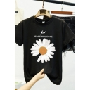 Womens Stylish Short Sleeve Crew Neck Letter PEACEMINUSONE Daisy Floral Printed Loose Graphic T Shirt