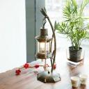 Clear Glass Kerosene Desk Light Farmhouse 1 Head Bedroom Table Lighting in Brass with Metal Bamboo Deco