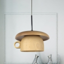 Modern 1 Head LED Down Lighting Beige Coffee-Cup Hanging Pendant Lamp with Wood Shade