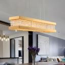 Rectangle Frame Crystal Island Light Post Modern 6 Lights Gold Finish LED Suspension Lamp