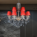 12-Head Barrel Chandelier Lighting Traditionalist Red Fabric Hanging Pendant with Clear Crystal Stand
