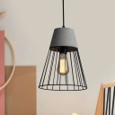 Black/Rose Gold Cone Cage Pendant Lighting Vintage Iron 1 Bulb Coffee Shop Cement Ceiling Lamp