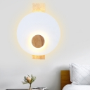 Disk Bedside Wall Mount Light Metal LED Minimalist Wall Sconce Lamp in Black/Grey/White with Wood Backplate