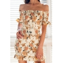 Amazing Girls Yellow Short Sleeve Off the Shoulder All Over Floral Print Ruffled Pleated Mini Sheath Dress