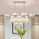 Drum Dining Room Island Pendant Light Modernist Crystal Block 6-Bulb Chrome Hanging Ceiling Lamp
