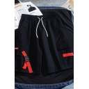 Leisure Cool Guys Drawstring Waist Flap Pockets Buckle Strap Patched Loose Shorts