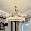 6/8-Head Pendant Chandelier Contemporary Cylinder Crystal Block Ceiling Hang Fixture in Gold with Ring Design