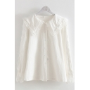 Trendy White Long Sleeve Peter Pan Collar Button Down Lace Trim Loose Shirt for Ladies
