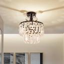 2 Tiers Crystal Prism Flush Mount Vintage 1 Bulb Foyer Semi Flush Ceiling Light in Black