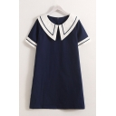 Fashion Womens Short Sleeve Sailor Collar Contrast Piped Linen Midi A-Line Dress in Navy