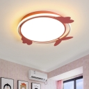 LED Living Room Ceiling Mount Contemporary Pink/Blue Flushmount with Bird Acrylic Shade
