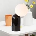 Modern Novelty Single Table Light Black Crestfallen Design Night Stand Lamp with Ball Milk Glass Shade