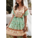 Ethnic Ladies Short Sleeve V-Neck All Over Flower Printed Fringe Colorblock Short A-Line Dress