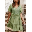 Casual Womens Plain Short Sleeve V-Neck Tassel Decoration Floral Embroidered Ruffled Short Swing Dress