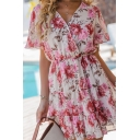 Holiday Glamorous Womens Bell Sleeves Surplice Neck All Over Flower Printed Ruffled Short Pleated A-Line Dress in White