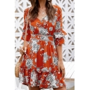 Gorgeous Ladies Half Sleeves V-Neck All Over Flower Printed Tied Open Back Ruffled Trim Short Pleated A-Line Dress