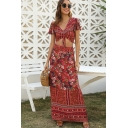 Pretty Ladies Red Short Sleeve V-Neck All Over Flower Print Drawstring Fit Crop Tee & Maxi A-Line Skirt Set