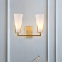 Deep Cone Frosted White Glass Wall Lamp Mid-Century 2 Bulbs Brass Sconce Lighting for Bedside