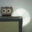 Cartoon Owl/Cat/Rabbit Shape Night Lamp Wood LED Bedroom Book Folding Light in White with Paper Shade
