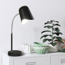 Flexible Gooseneck Iron Table Lamp Macaron Single-Bulb Black/Grey/Blue Nightstand Light with Waveform Lampshade