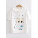 Preppy Looks Short Sleeve Hooded Drawstring Cartoon Cat Fish Printed Pouch Pocket Relaxed Fit Tee Top