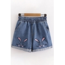 Popular Womens Elastic Waist Rabbit Embroidery Roll Cuffs Relaxed Fit Denim Shorts in Blue