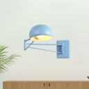 Macaron Dome Extendable Reading Wall Lamp Metallic Single-Bulb Living Room Wall Light in Blue/Yellow/Green