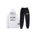 Streetwear Girls Long Sleeve Drawstring Letter ANIME CHILL Print Pouch Pocket Loose Hoodie & Cuffed Carrot Fit Sweatpants Set
