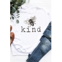 Simple Womens Long Sleeve Crew Neck Letter KIND Bee Graphic Relaxed Fit Pullover Sweatshirt
