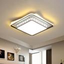 Laser-Cut Square Bedroom Flushmount Metal LED Modernist Flush Ceiling Lamp in White