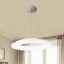 Doughnut Acrylic Suspension Light Simple LED White Hanging Ceiling Lamp for Restaurant