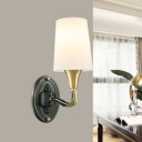 1/2 Bulbs Sconce Lamp Vintage Corner Wall Lighting Ideas with Conic Opal Glass Shade in Brass