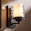 1-Light Wall Lamp Clear Hammered and Frosted Glass Retro Bedside Sconce Light with Dual Pillar Shade